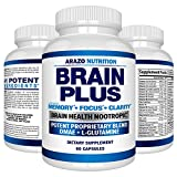 Premium Brain Function Supplement – Memory, Focus, Clarity – Nootropic Booster with DMAE, Bacopa Monnieri, L-Glutamine, Multi Vitamins, Multi Minerals - Arazo Nutrition