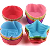 Rilexawhile Silicone Cupcake Liners Reusable Baking Cups Nonstick Easy Clean Pastry Muffin Molds 4 Shapes Round, Stars, Heart, Flowers, 24 Pieces Colorful