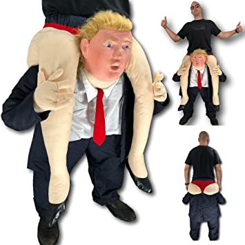 Rubber Johnnies TM Adult Donald Trump Ride On Me Costume, Carry Back ,  Funny Mascot