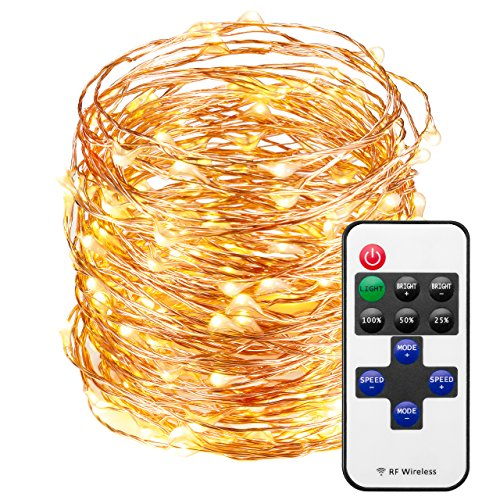- Mpow LED String Lights with Remote Control, 66ft 200LED Waterproof Decorative Lights Dimmable, Copper Wire Lights for Indoor and Outdoor, Bedroom, Patio, Garden, Wedding, Parties (Warm White)