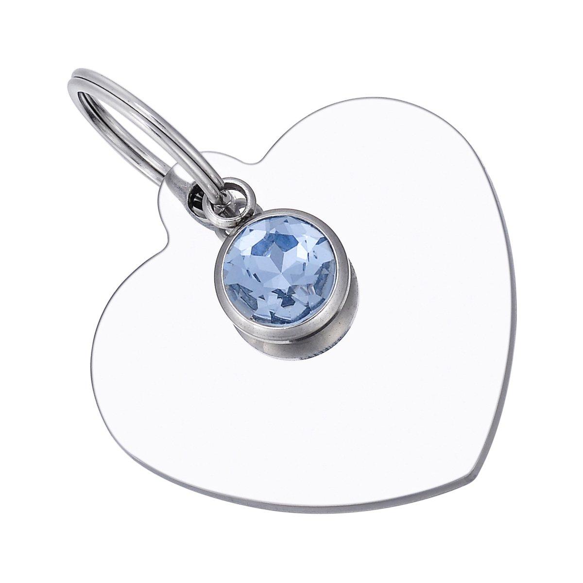 HooAMI Médaille Chien Chat Identification Coeur Cristal Gravure Personnalisé En Acier Inoxydable Avec Service Gratuit de Gravure 33mmx34mm (12 Styles) Best-shopping