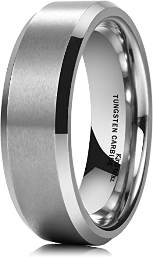 King Will Basic Unisex 8mm Silver//Black Tungsten Carbide Matte Polished Finish Wedding Engagement Band Ring