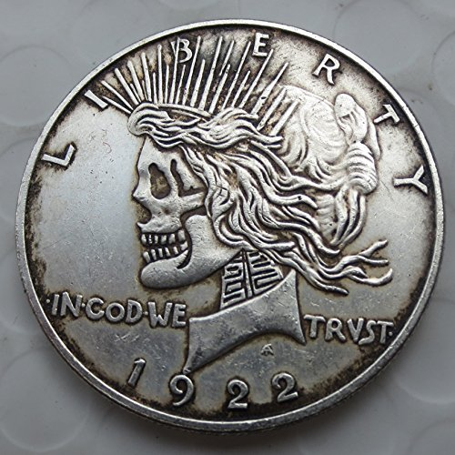 Hobo Nickel US Head-To-Head Two Face 1922/1922 Peace Dollar skull zombie skeleton hand carved Chritmas Gifts