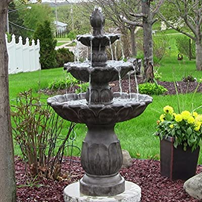 Sunnydaze Classic Tulip Three-Tiered Outdoor Garden Water Fountain, Dark Brown, 46 Inch Tall - PERFECT GARDEN CENTERPIECE: 25 inch diameter x 46 inches high; Weighs 52 pounds; Recommended water capacity of 4 gallons ATTRACTIVE FLORAL MOTIF: The tulip flower with leaf-like cleft design steers water from basin to basin and makes a beautiful accent piece INCLUDES EVERYTHING FOR SETUP: Water feature includes a 140 GPH electric submersible Jier JR-600 120V 0.195A 60Hz electrical pump and 6-foot electrical cord that can plug into a standard wall outlet so all you have to do is assemble, fill and plug it in to enjoy; - patio, fountains, outdoor-decor - 61qlTHgS%2BrL. SS400  -