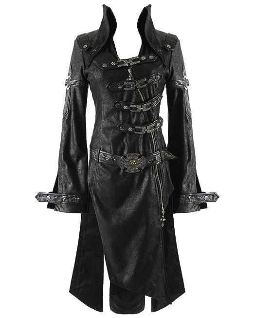 Punk Rave Negro Sombra Chaqueta Mujer Gótico Steampunk Piel Sintética Abrigo: Amazon.es: Ropa y accesorios