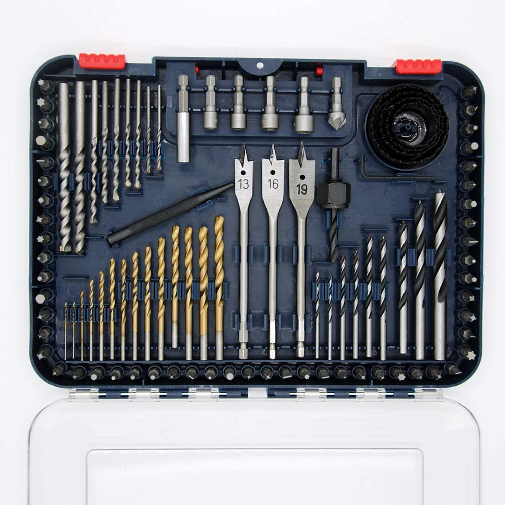ChewSteel Tools Drill Bit Set, 100-Piece Drilling and Driving Accessories, Titanium Coated HSS Bits for Drilling Metal, Wood, Masonry and Plastic