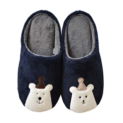 Cashmere Cotton House Slippers,Autumn Winter Breathable Indoor/Outdoor Shoes,B