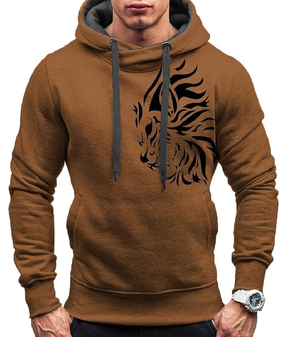pujingge Mens Long Sleeve Hoodie Jacket Casual Tiger Print Sweatshirt Outwear