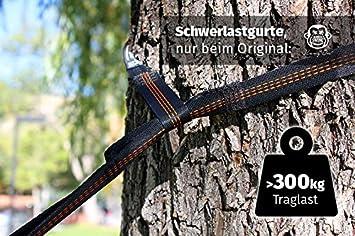 Monkey Swing Hamaca de nailon de paraca/ídas Ultra Light 275/cm de largo, 2,5/cm de ancho en Juego con 2/x 300/kg de carga pesada correa 275/x 140/cm, 220/kg de carga Outdoor Trekkin y 2/x Mosquet/ón