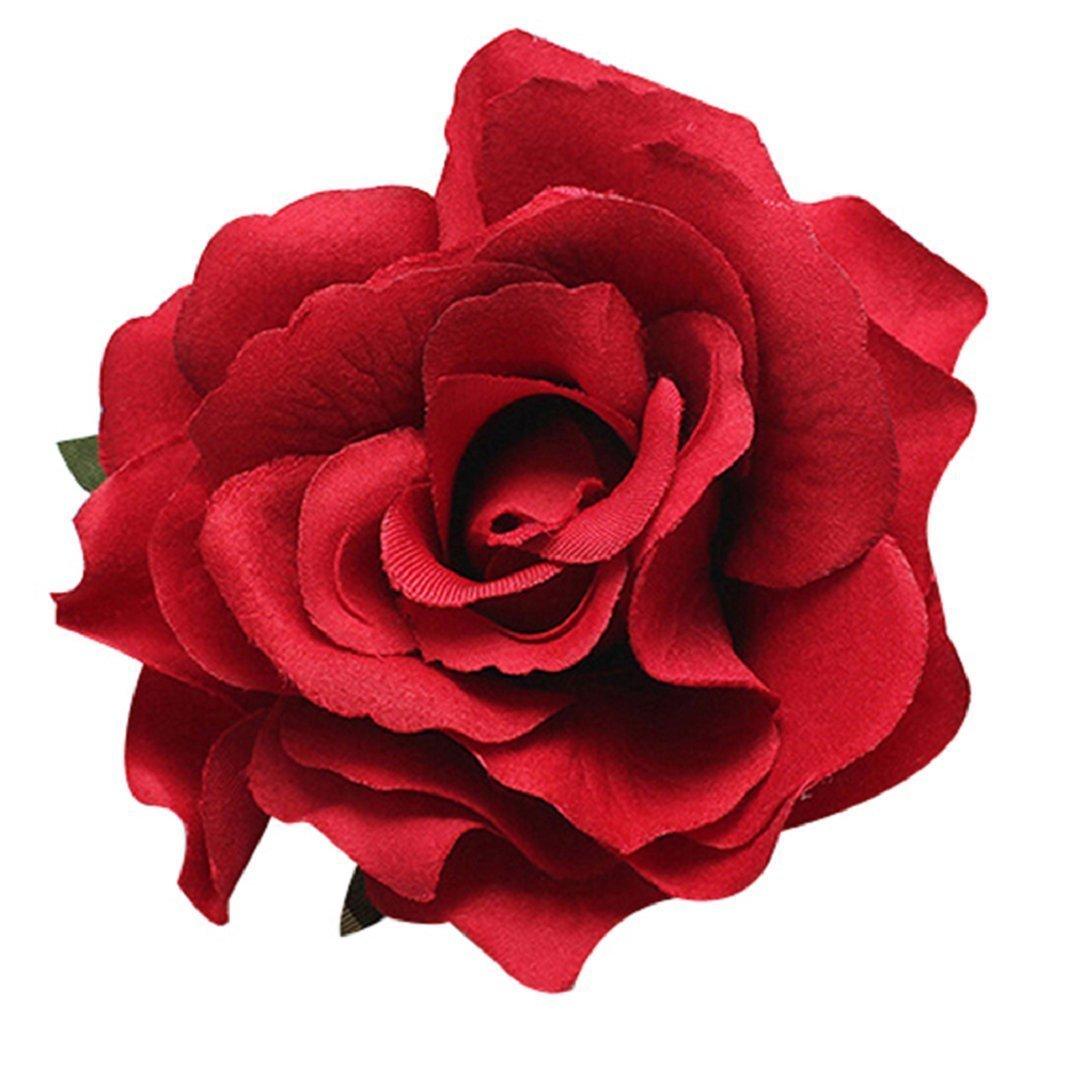 Gemini _ Mall Red rose Fabric Hair Flower clip forcine per capelli, a forma di spilla da sposa Gemini_mall