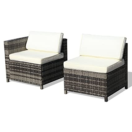 Super Patio Armless Chairu0026 Corner Chair, Outdoor Patio Furniture All  Weather Grey Rattan Wicker Sectional