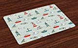 Ambesonne Lighthouse Place Mats Set of 4, Seagulls Lighthouses Message Bottles Steamboats Sailboats Wavy Pattern Nautical, Washable Fabric Placemats for Dining Room Kitchen Table Decor, Multicolor