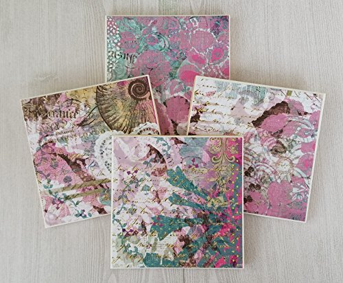 Drink Tile - Pink Flower Tile Coasters