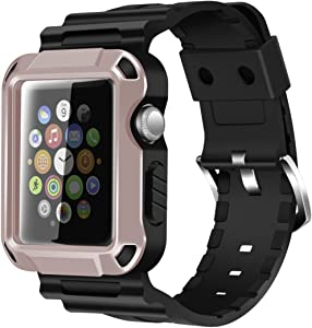 iiteeology Compatible with Apple Watch Band 42mm, Rugged Protective iWatch Case and Band Strap with Built-in Screen Protector for Apple Watch Series 3/2/1 (Rose Gold)