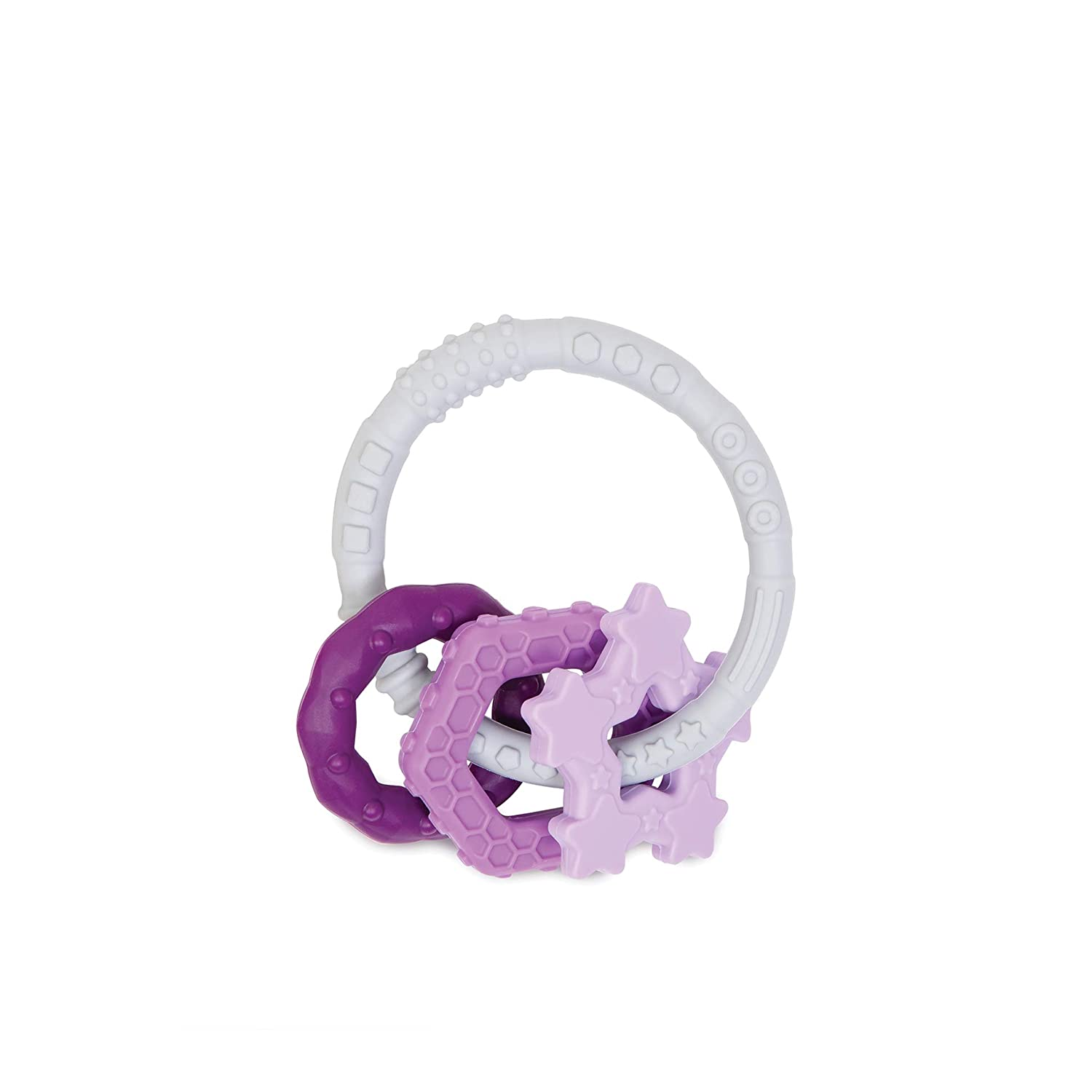 Bumkins Silicone Teething Ring with Charms Babies 3 Months+ Purple Sensory Gum Soothing