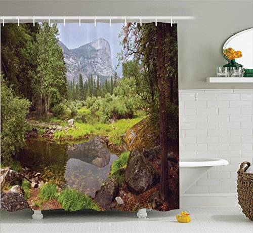 Ambesonne Apartment Decor Shower Curtain Set, Small Spring Forest Distant Mountain Picture of Yosemite National Park Landscape Print, Bathroom Accessories, 84 Inches Extralong, Light Green