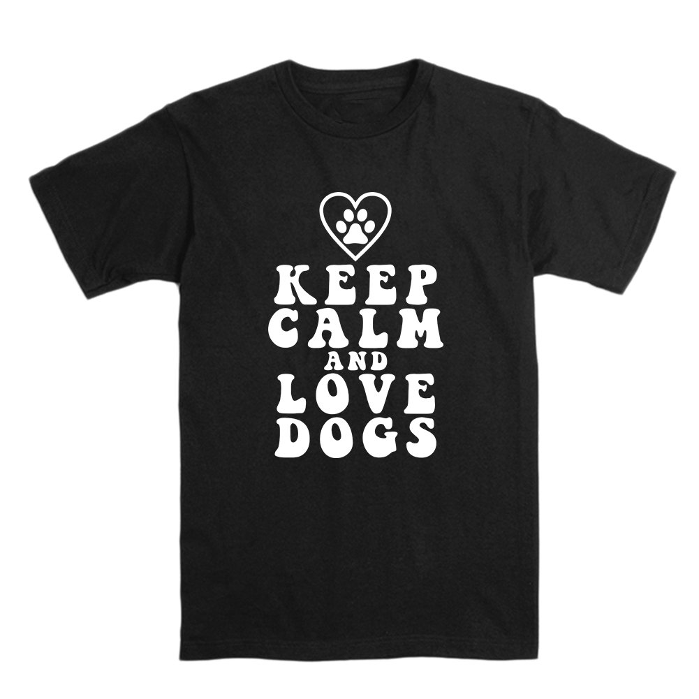 OKnown Keep Calm and Love Dog T-Shirt for Men Short Sleeve Crew Neck Tee
