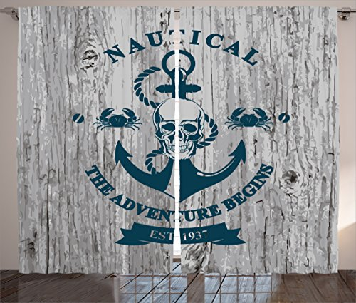 Ambesonne Anchor Decor Collection, Art with Anchor Skull Rope Quotes Nautical the Adventure Begins Message History, Living Room Bedroom Curtain 2 Panels Set, 108 X 90 Inches, Light Navy Grey