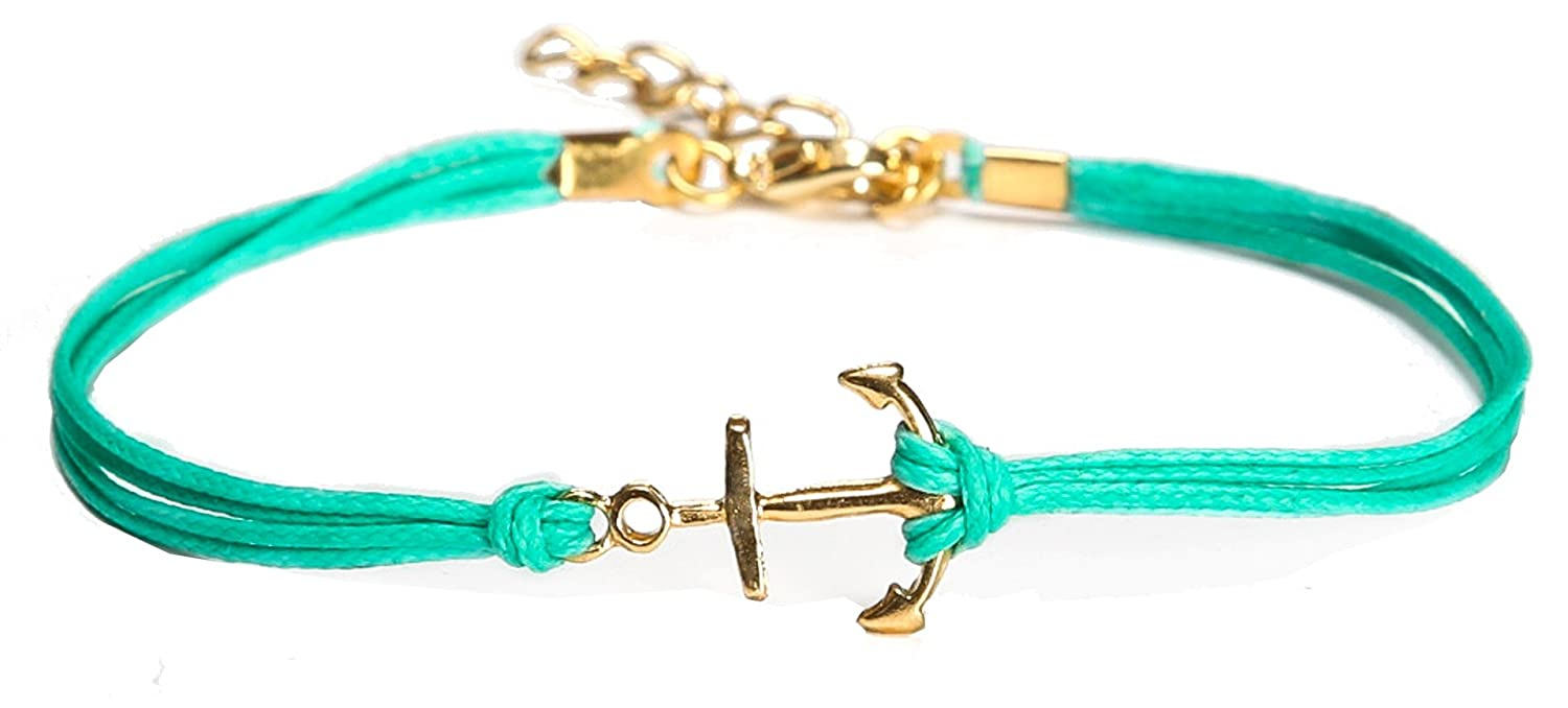 Anklet, gold anchor ankle bracelet, dainty turquoise cord anklet, anchor charm, gift for her, minimalist jewelry, nautical jewelry, teal Shani & Adi Jewelry