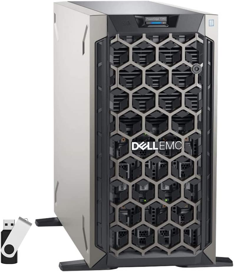 Dell PowerEdge T340 Tower Server Bundle with 16GB USB Flash Drive, Intel Xeon E-2124, 16GB DDR4, 2TB SSD, RAID