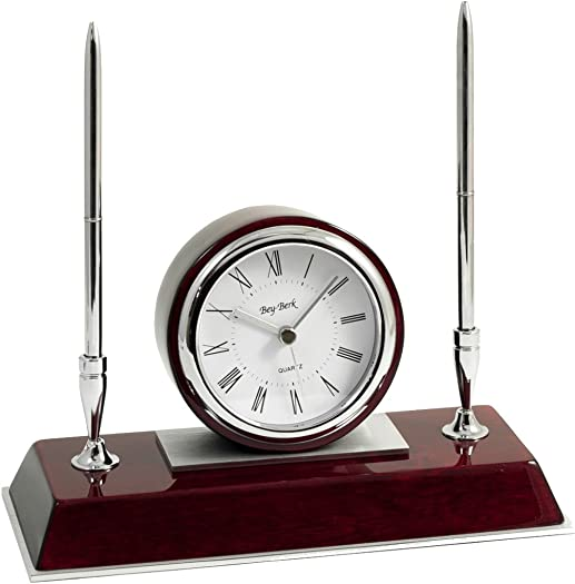 Bey-Berk CM681 Dresden, Lacquered Rosewood Quartz Desk Clock with Chrome Stainless Steel Accents and 2 Pens, Brown