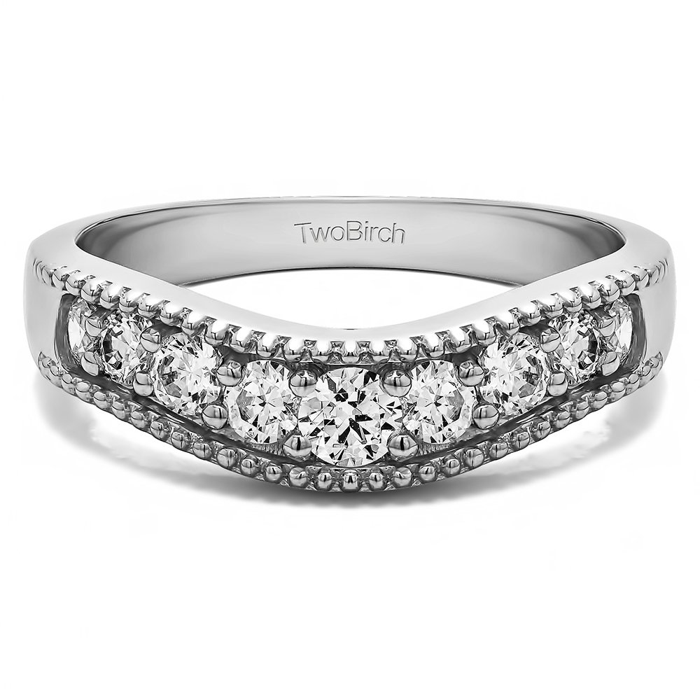TwoBirch 0.42 ct. Cubic Zirconia Vintage Style Contour Wedding Ring in Sterling Silver (3/8 ct. twt.)