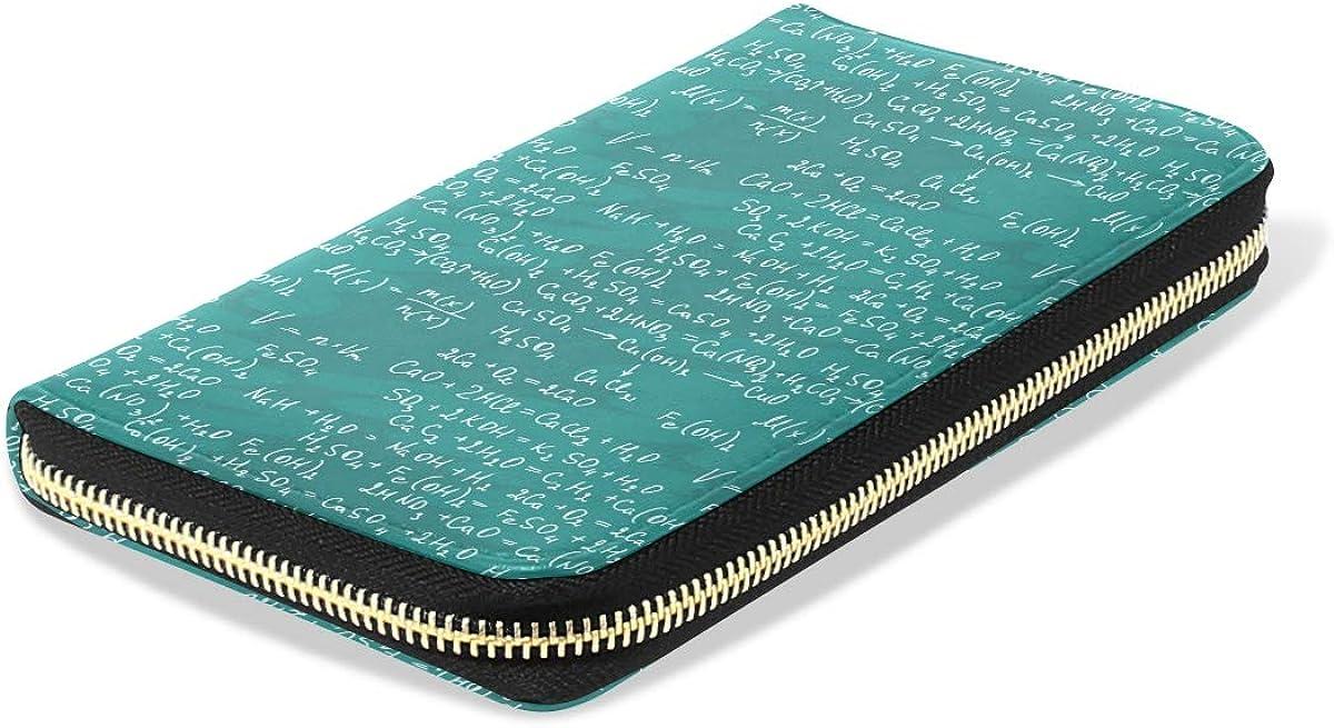 Women LeatherMath Formulas On BlackboardWallet Large Capacity Zipper Travel Wristlet Bags Clutch Cellphone Bag