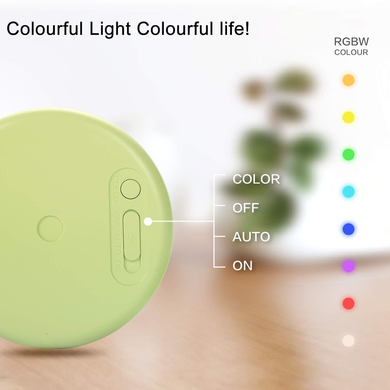Auto//On//Off per Armadio 2 Pezzi Garage ecc Luce Notte LED 8 Colori Luce Possono Essere Impostati Batteria Ricaricabile Lampada Guardaroba con Sensore Movimento Costruita in Magneti Scale