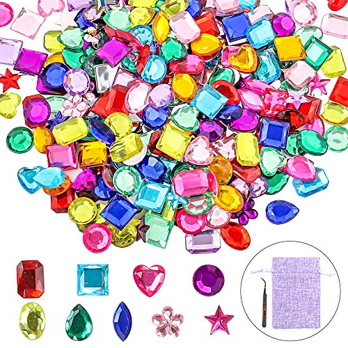 YIQIHAI 360 Pcs Larger Craft Gems Jewels Acrylic Flatback Rhinestones Gemstone for Arts and Crafts Jewels, 9 Shapes, 10-15mm with Tweezers and Bag