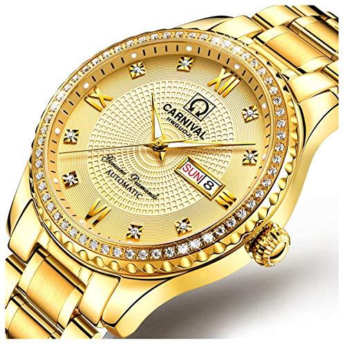 Pilot Diamond Watch - Luxury Brand Men Automatic Mechanical Watches Diamond Stainless Steel Business Watch with Calendar