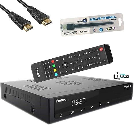 Protek 9911/9920 LX HDTV digitaler Satelliten-Receiver in schwarz inkl. Wlanabel und Dbox Logo(HDTV,1 x DVB-S2, HDMI, LAN, S/