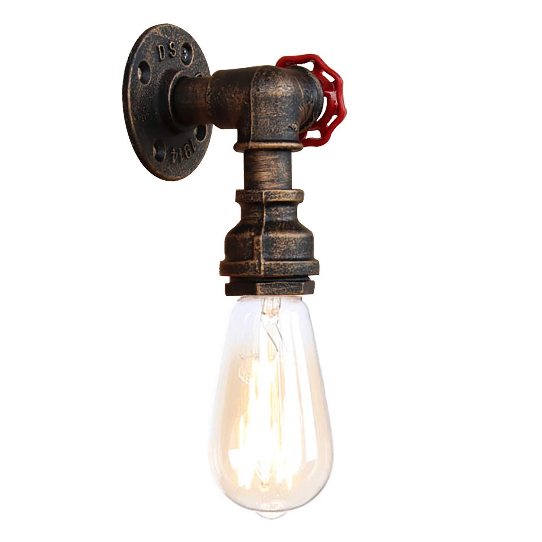 Newrays Steam Punk Retro Loft Industrial Iron Rust Pipa de agua Lámpara de pared Vintage E27 Aplique Luces para la sala de estar Dormitorio Restaurante Bar (BG807) [Clase de eficiencia energética A]