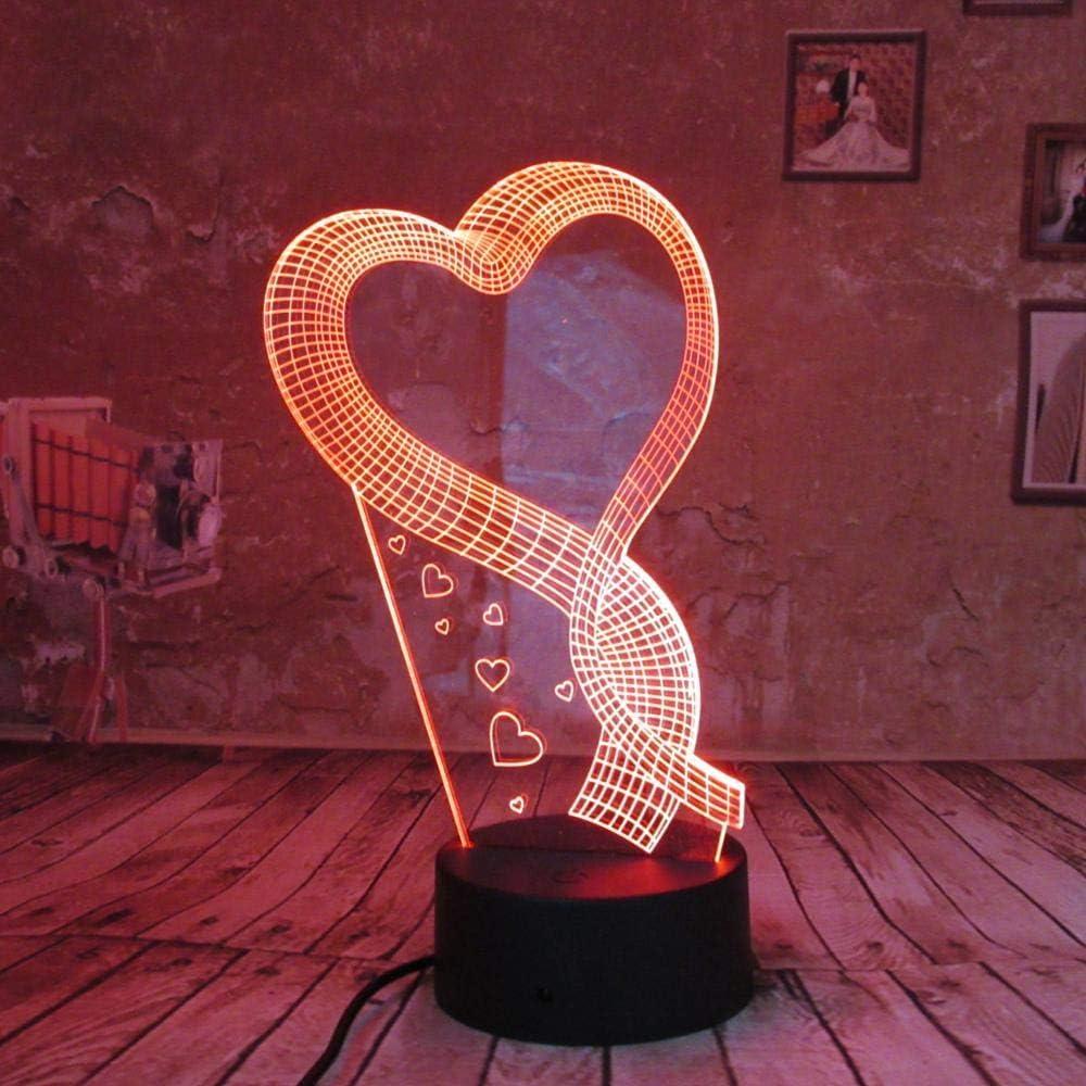 BFMBCHDJ Romantic Love Heart 3D Night Light LED Illusion Lamp 7 Color Changing Lights Acrílico Flat ABS Base USB Charger Decoración para el hogar: Amazon.es: Iluminación