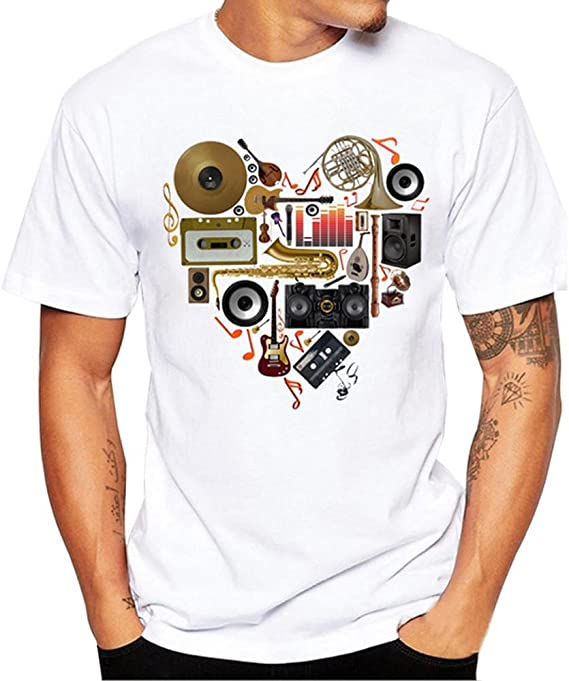 Firally Magliette da Uomo,T Shirt con Stampa Musicale Tinta Unita da Uomo,TopCamiciaCamicetta con la Moda Casual