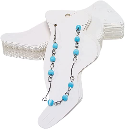 Pack of 100 White Paper Anklet Jewelry Cards