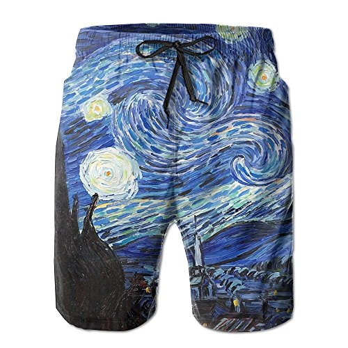 2018 pants Starry Night Men's Boy's Casual Quick-Drying Beach Pant Swim Board Shorts by 2018 pants