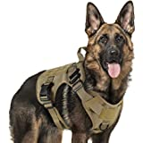 Rabbitgoo Tactical Dog Harness Large Service Dog Vest with Handle, Military Dog Safety Harness with Molle and Velcro Strips, No-Pull Adjustable Training Vest with Metal Buckles and Leash Clips for Outdoor Hiking