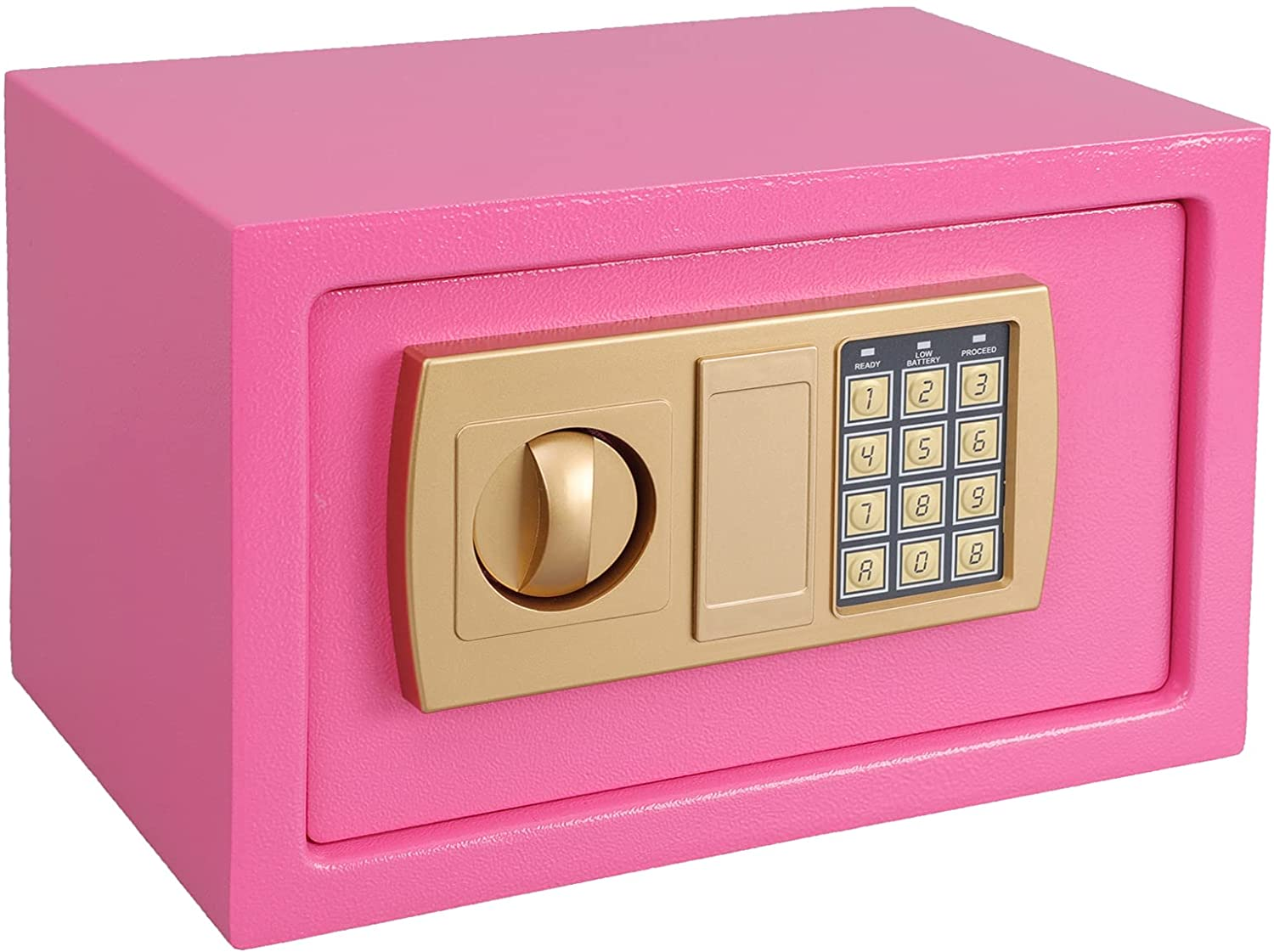 KYODOLED Digital Safe-Electronic Steel Safe with Keypad to the Wall, Medium Personal Security Locked Cabinet for Home Money,Office,Hotel Business,In the Shelf or Drawer,0.43Cubic Feet,Pink