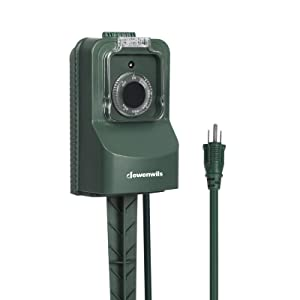 DEWENWILS Outdoor Power Stake, Weatherproof Power Strip Timer, Light Sensor Timer Switch with Waterproof Cover, 3 Grounded Outlets, 6' Cord for Fountain Pool Pump Electrical Outlets, 15A,UL Listed