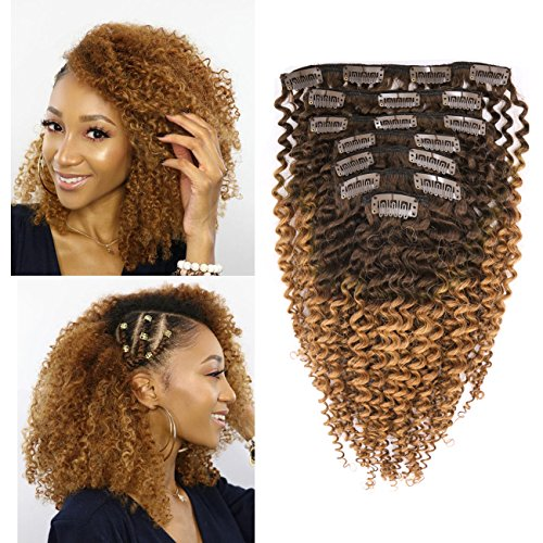 Beauty : Anrosa Afro Kinky Clip in Ombre Hair Extensions Dark Brown Curly Hair Real Color Hair Remy Thick Hair 120 Gram 16 Inch 3C 3B 4A for African American