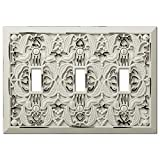 Filigree Antique White Cast 3 Toggle Wallplate