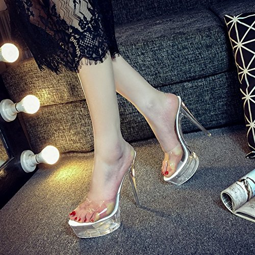 Avec Super Crystal Plate Transparent Montage Imperméable En 3 Zhudj 14cm Remorquage Chaussures Été forme Talon Chaussons 883 De Fine White 0Rtx7Ix