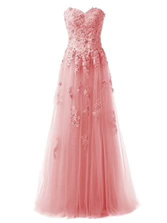 Callmelady High Neck Tulle Long Prom Dresses With Lace Appliques For Evening (Coral, UK4