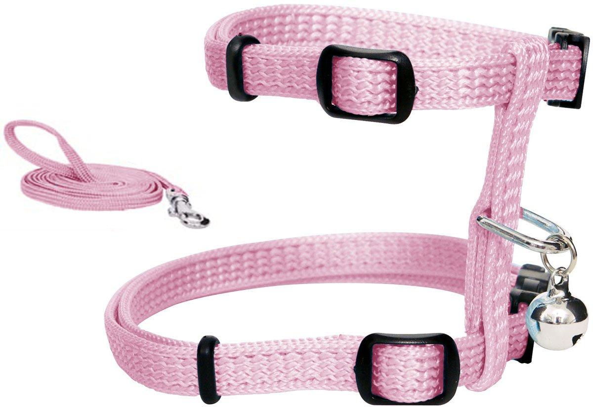 Catit Nylon Adjustable Cat Harness and Leash Set, Small, Pink