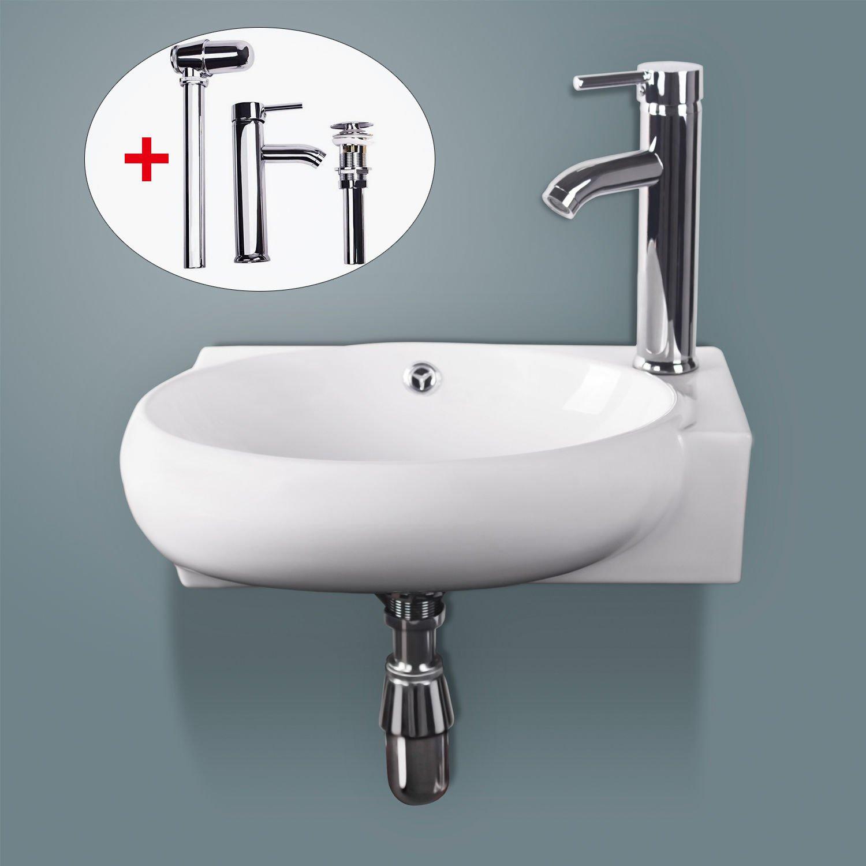 Sliverylake Corner Wall Mount Sink Bathroom White Porcelain Ceramic Vessel Sink and Faucet Combo