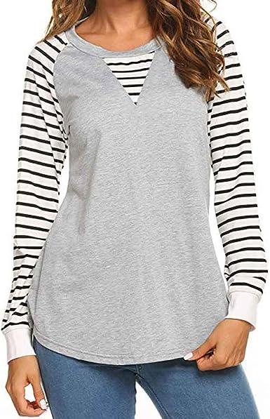 Wyxhkj Blusas De Mujer Raya Camisa Algodón Elegante Manga Larga Camisa Suelta O-Cuello Camisetas Manga Corta Mujer Casual Verano Invierno Primavera Shirts Tops: Amazon.es: Ropa y accesorios