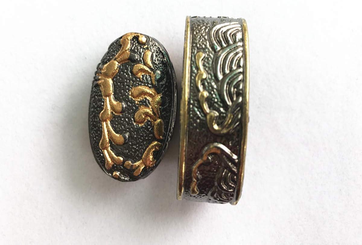Morning Glory Kashira Butt Cap Brass Fuchi Hilt Collar For Japanese Katana Sword