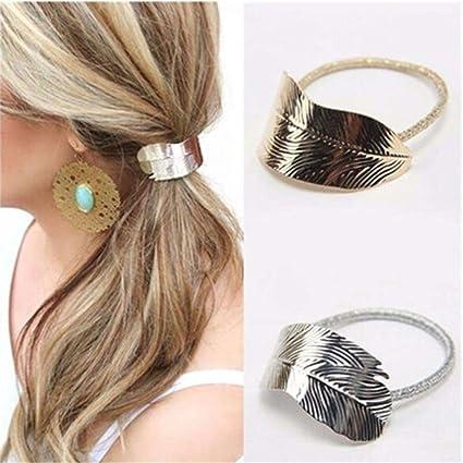 GUAngqi Women Girls Leaf Hair Rope Hair Band Metallic Hair Rope Elastic Ponytail  Holder Hair Accessories 9fa5ce25b07