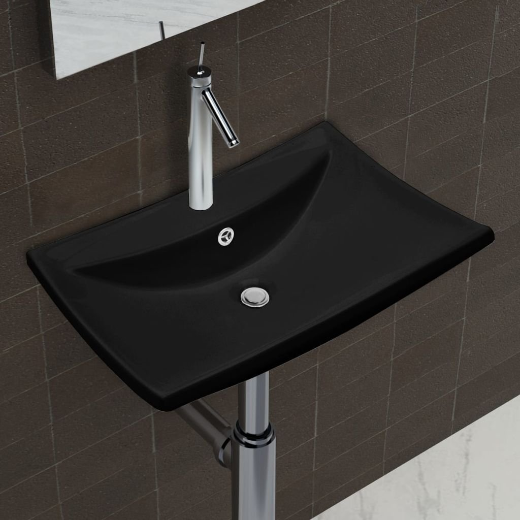 Bathroom Sink Black Luxury Ceramic Basin Rectangular Bathroom Sink with Overflow and Faucet Hole Basin Sink by Chloe Rossetti