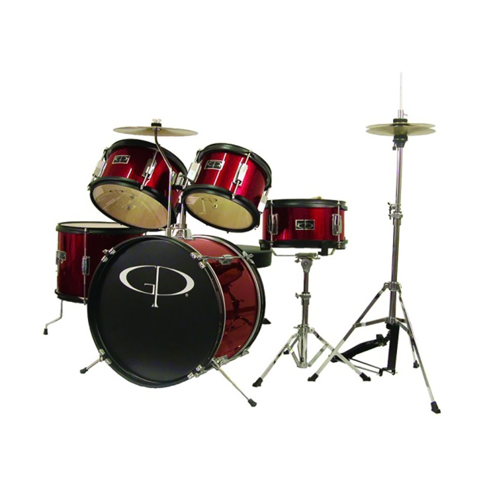 GP Percussion GP55RD 5-Piece Junior Drum Set with Cymbals and Throne in Red M & M Merchandisers Inc